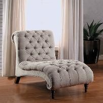 Beige Fabric Button Chaise