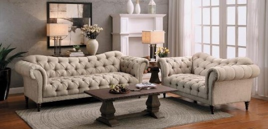 Beige Fabric Button Sofa & Love