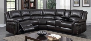 Brown Leatherette Recliner Sectional