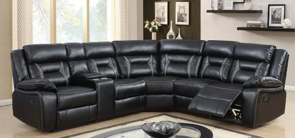 Grey Piping Black Leatherette Recliner Sectional