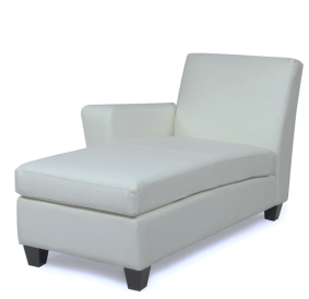 Grey Leather Chaise